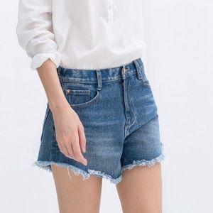 Zara Trafulac High Waisted Frayed Hem Jean Shorts